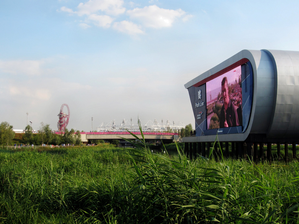 Large Viewing screen at Olympics Live on London Olympic Park by London interior designers Callender Howorth