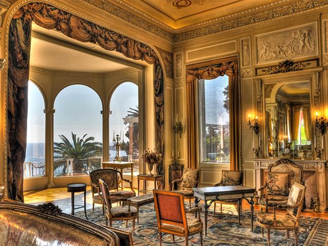 Living room at Villa Ephrussi de Rothschild