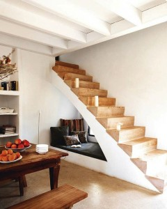 sofa under staircase