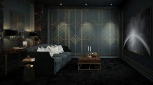 luxury home cinema design - art deco style