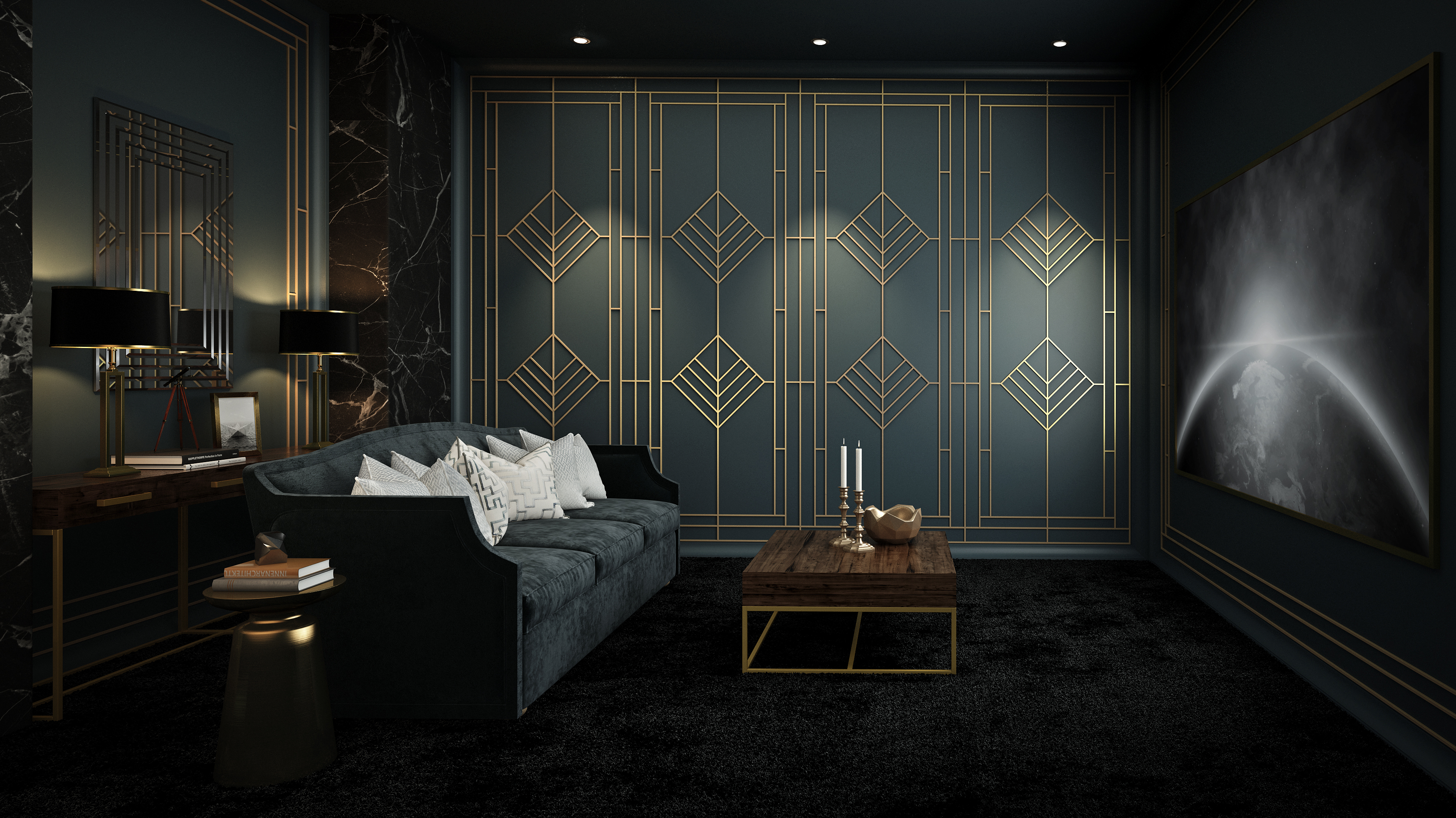 luxury home cinema design - art deco style